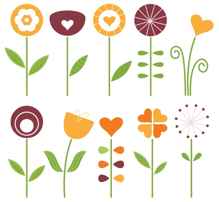 Hand drawn flowers set - orange, brown and green. Vector Illustration