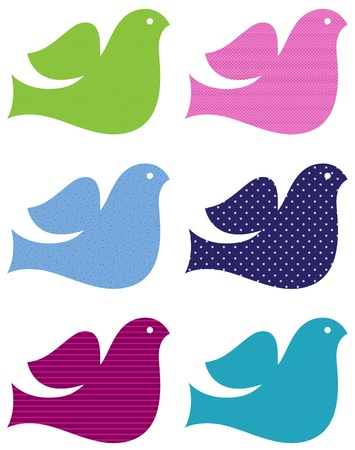 Patterned doves collection in fresh colors. Vector Illustration Vector