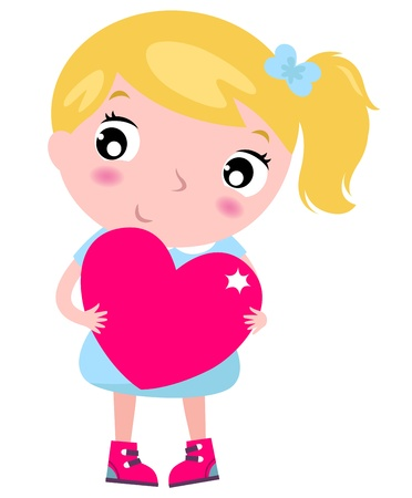 the first love: Primer amor - hermosa chica con el coraz�n. Vector Illustration