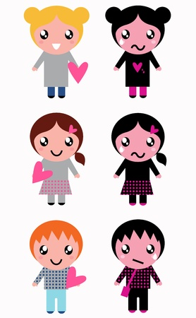 Positive and negative kids set. Vector Illustration Vector