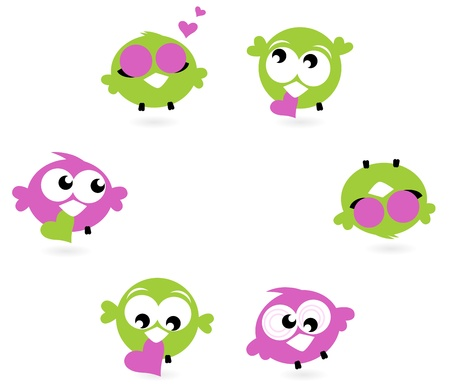 Cute Twitter birds with hearts - green and purple. Vector Vector