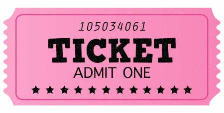 Pink ticket, isolated on white. Vector Illustration