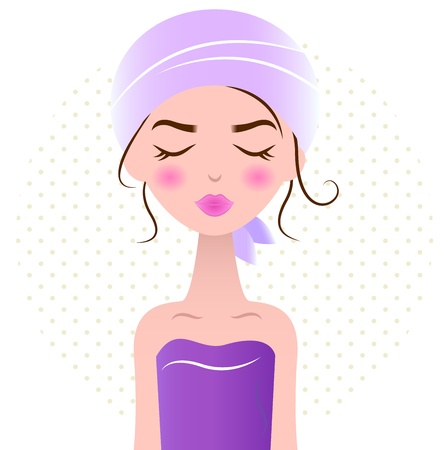 Cute beauty Woman in spa towel. Vector Illustration Vector