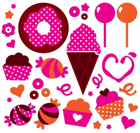 Cute pink and orange cakes with polka dots. Vector Illustration Vector