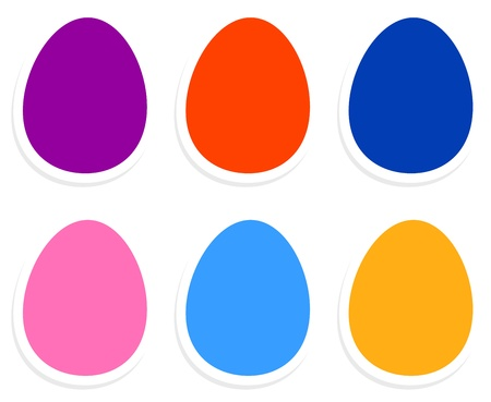 Easter eggs in vibrant colors isolated on white. Vector Vector