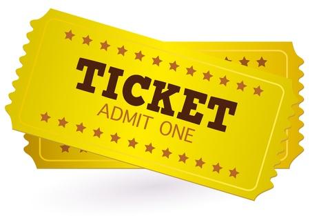 cinema old: Oro Ticket o Cedola isolato su bianco. Illustrazione vettoriale
