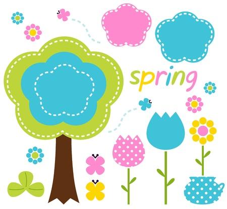Floral spring set - pink, blue and green. Vector Illustration
