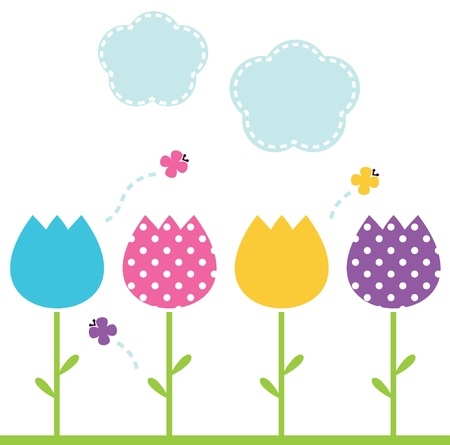 Colorful garden Tulips. Vector Illustration Vector