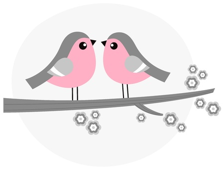 feb: Birds in love  retro Illustration Illustration