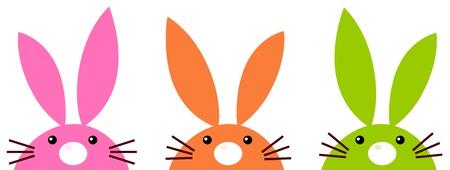 Funny easter rabbits set Illustration Vector