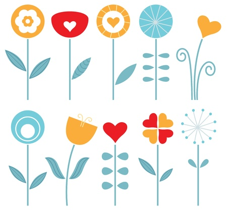 Retro spring flowers collection - orange, red and blue   Vector