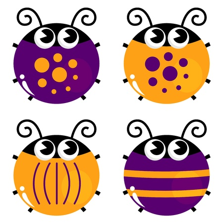 Cute little funny bugs set - orange and purple  Illustration