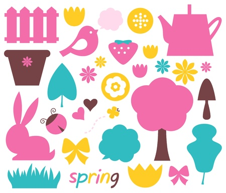Easter and nature elements set in pastel colors - brown, pink, cyan    Stock Vector - 18688418