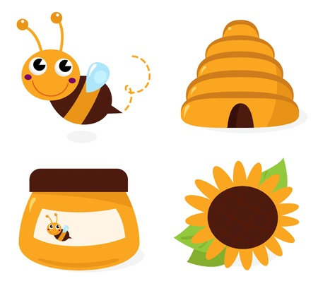 Cute Bee and Honey set  cartoon Illustration Ilustração