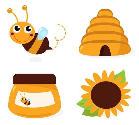 Cute Bee and Honey set  cartoon Illustration Vectores