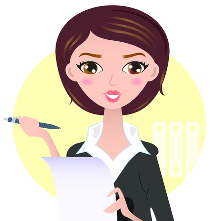 author: Office writing woman with paper note Illustration