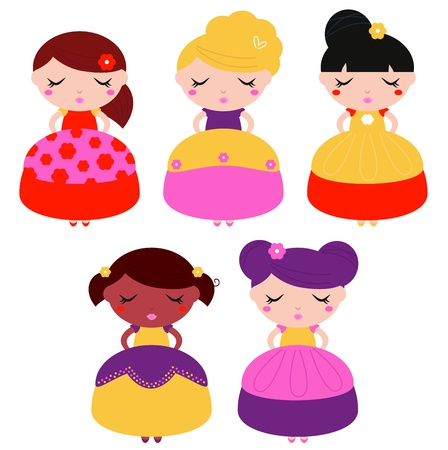 Beautiful multicultural princess set  Illustration Vector