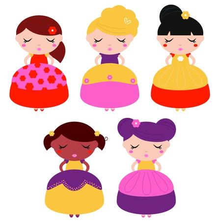 Beautiful multicultural princess set  Illustration