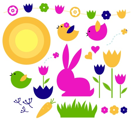 Colorful spring and easter elements  Illustration Vector