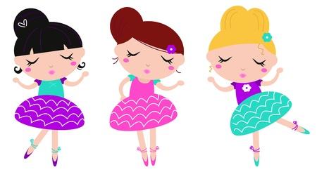 entre filles: Ballerine s�rie - s�rie vecteur mignon.