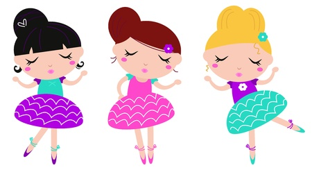 young girl: Dancing ballerina series - cute vector set.