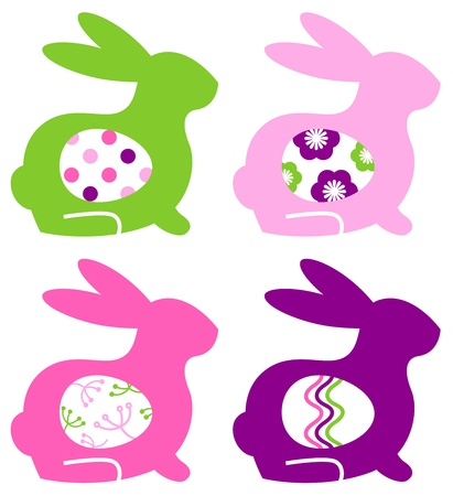 drawed: Colorful bunnies with eggs. Vector Illustration Illustration