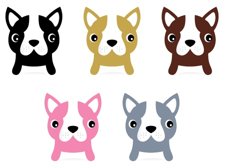 french style: Adorable doggie set. Vector Illustration