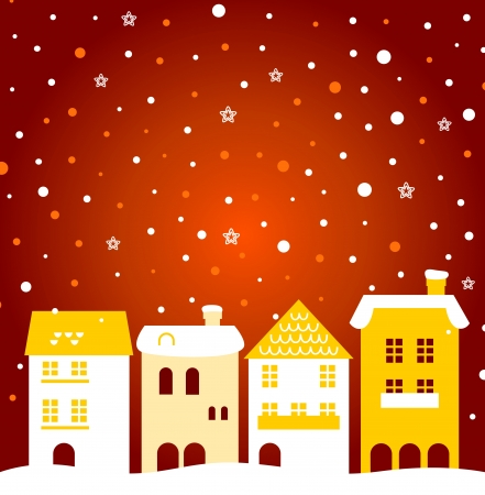 Winter town - gold and red. Vector Illustration Vector