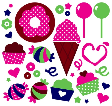 Sweet Muffin set for your party. Vector Illustration Vector