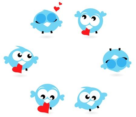 pajaro azul: Amor canto de los p�jaros en poses diferentes ajustado. Vector Illustration