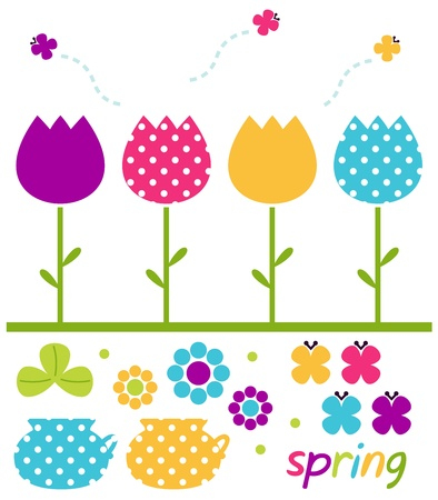 flower drawings: Cute spring design elements. Vector Illustration Illustration