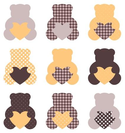 vintage teddy bears: Retro abstract teddy bear collection. Vector Illustration