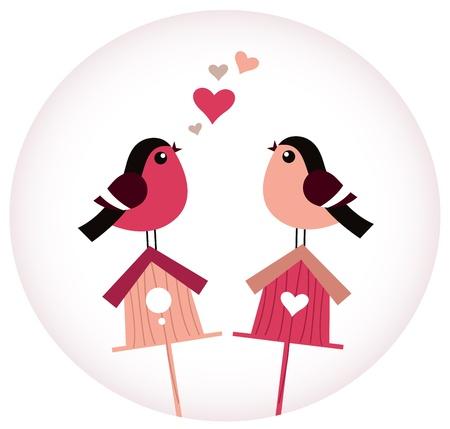 birdhouse: Colorful Birds and Birdhouses. Vector Illustration