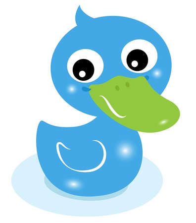 one eye: Cartoon swimming duck for baby boy. Vector Illustration