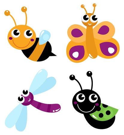 Colorful bugs mix. Vector cartoon Illustration Vector