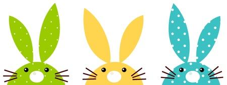 conejo pascua: Set bunny vibrante Beautiful - verde, amarillo y azul. Vector Illustration