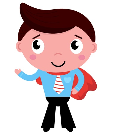 superhuman: Heroic business man showing something with hand. Vector  Illustration