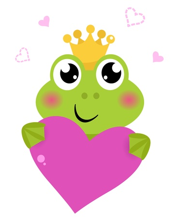 princes: Funny frog for Valentines Day. Vector cartoon Illustration