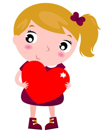 day dreaming: Beautiful little girl with heart. Vector cartoon Illustration