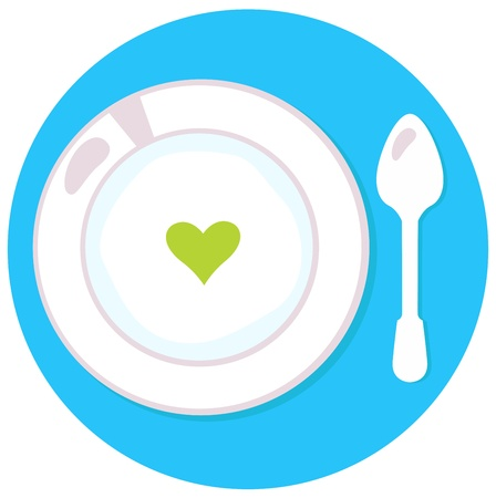 Love soup isolated on blue. Vector Illustration Stock Vector - 18931708
