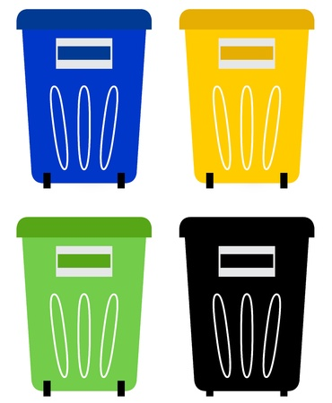 Colorful recycle bins for garbage separation. Vector Vector