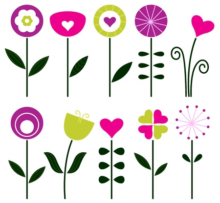 Retro flowers set isolated on white. Vector Illustration