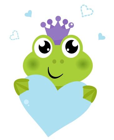 blue frog: Pr�ncipe Rana divertida con el coraz�n del amor. Cartoon ilustraci�n vectorial