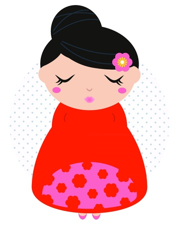 korea girl: Pink and red japanese girl with black hair in dotted circle. Vector