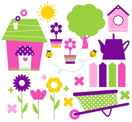 Colorful spring set with various items. Vector Vector