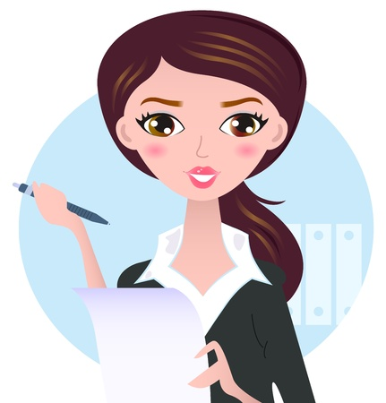 consult: Office writing woman with paper note. Vector Illustration