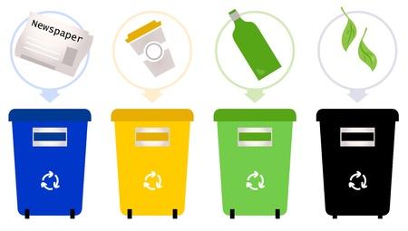 reciclaje de papel: Conjunto de contenedores de reciclaje de basura Ilustración Vectores