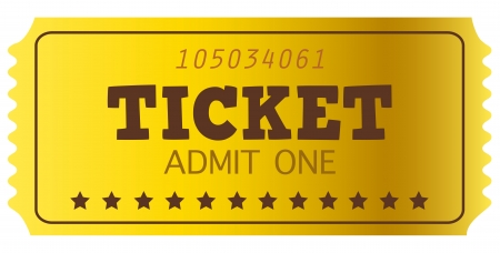 theater seat: Golden Ticket, cup�n aislados en blanco Ilustraci�n