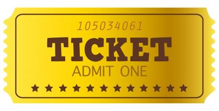 loto: Golden Ticket ou Coupon isol� sur blanc Illustration