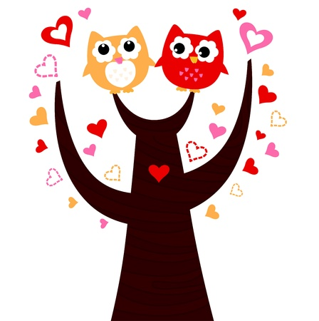 Sweet Owl couple in love. Vector cartoon Illustration Vector